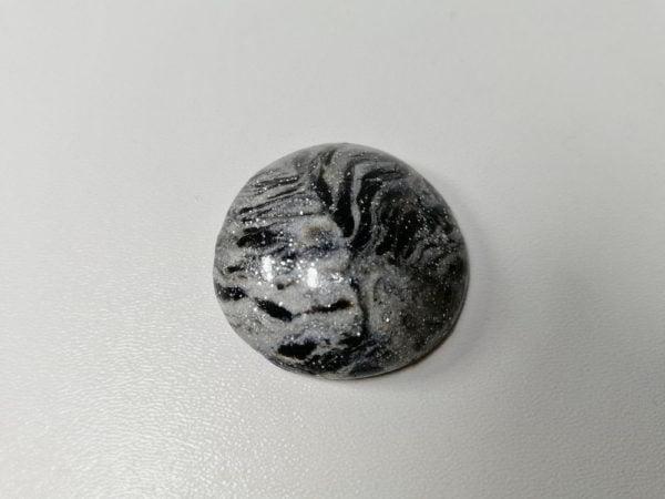 Cabochon polimer rotund gri 3