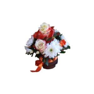 aranjament flori naturale alb roz