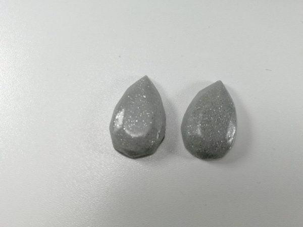 cabochon polimeric set goccia argintiu