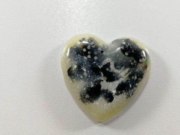 cabochon rasina inima alb negru efct