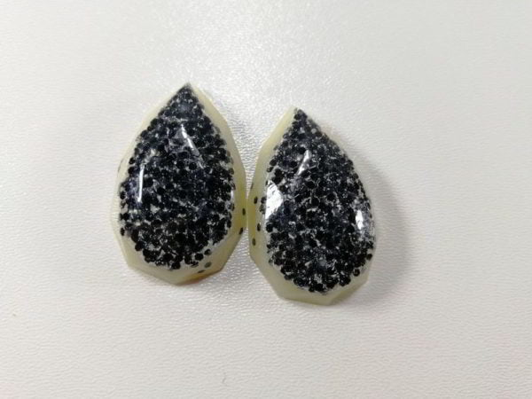 cabochon rasina set goccia alb negru