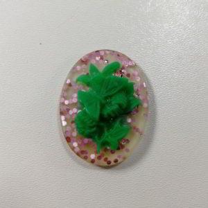 cammeo rasina fluture oval verde glitt