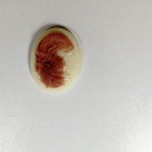 cammeo rasina oval f alb maro